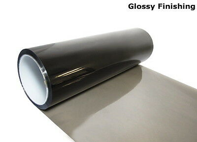 "12'' x 48"" Glossy Light Black Tint Headlight Taillight Fog Vinyl Sheet Sticker"