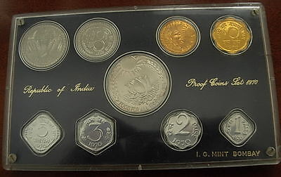 India 1970 Full 9 Coin Proof Set + Original Package +Certificate of Authenticity