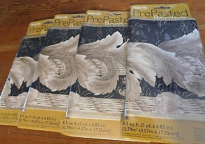 Sunworthy Prepasted wall paper border Brand New & Sealed Made in Canada 4 Packs
