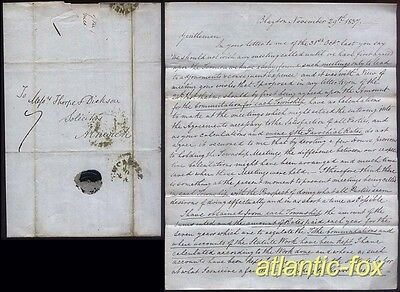 1837 BLAYDON, Newcastle, Letter  D.Turner re Township Tithes & Rates