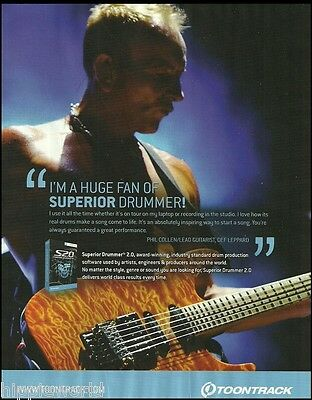Def Leppard Phil Collen Toontrack Superior  Drummer Software 8 x 11 ad print