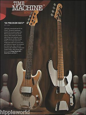 Fender Time Machine Series 1959 Precision bass guitar ad 8 x 11 advertisement