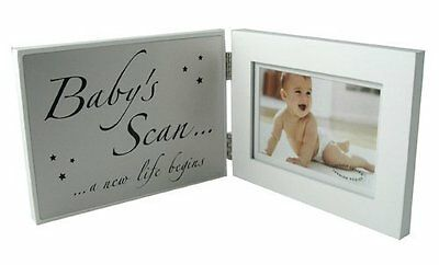 "Double White MDF- Frame ""Baby's Scan"" Photo Frame"