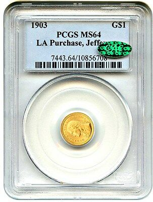 1903 Jefferson G$1 PCGS/CAC MS64 (LA Purchase, Jefferson) Popular Gold Commem