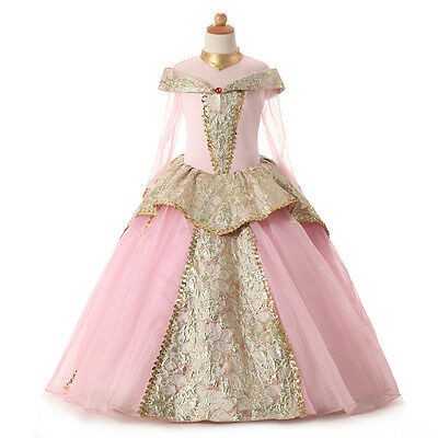 Kids Fairy Dresses Girl's Pink Princess Off Shoulder Party Outfit Christmas Gift