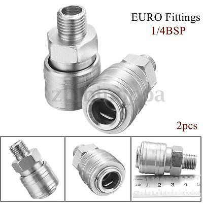 2x Euro Air Line Hose Connector Fitting Female Quick Release 1/4 BSP Male Thread