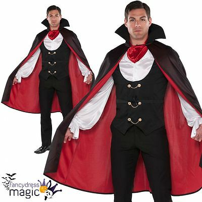 Adult Mens True Vampire Costume Count Dracula Fancy Dress Halloween Outfit Cape