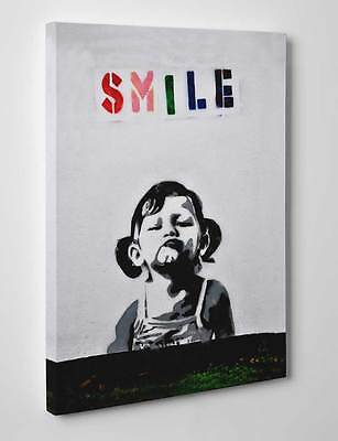 Banksy Smile Girl Art Graffiti Canvas Wall A2 A1 A0 Large Gift Present OC0083