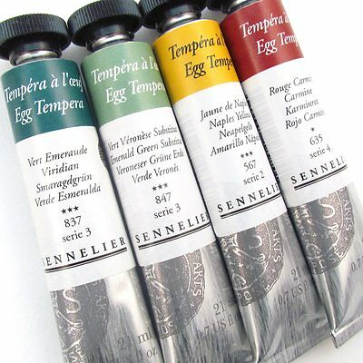 Sennelier Artists Egg Tempera 21ml Tubes. Artists Permanent Paint Tube.