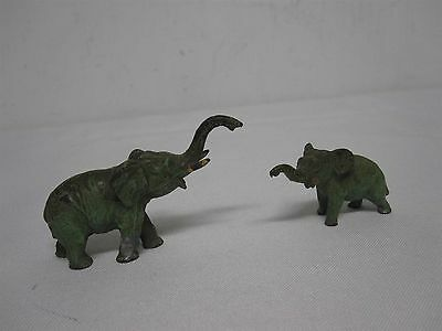 2 Antique Green Painted Heavy Metal Miniature Mother & Baby Elephant Figures