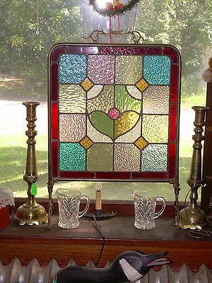 Antique Vintage Gorgeous Stained Glass Fire Screen