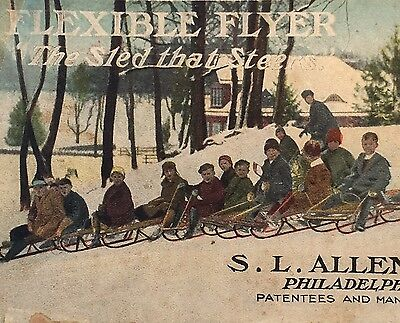 RARE 1908 FLEXIBLE FLYER SLED Philadelphia S L Allen Co 12pg Color Adv Brochure