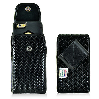 Genuine Leather Basket Weave Police Case fits Samsung  J7 with cover.