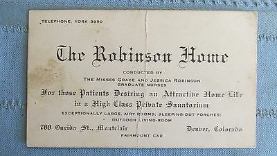 Original 1890's Business Card The Robinson Home-Denver Colorado Sanatorium-