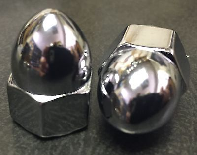 Chrome Acorn High Crown Cap Nuts * Size's 10-24 to 1/2-20  Sold Each
