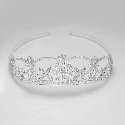 Wedding Bridal Tiara Crown Silver Rhinestone Princess Floral