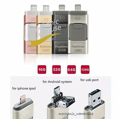32 64 128GB i Flash Drive USB OTG Device Memory Stick For iPhone 5 6 7 Android