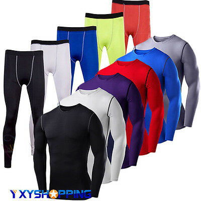 Mens Compression Base Layer Top Long Sleeve Tshirt Thermal Gym Sports Full Pants