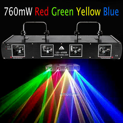 760mW RGYB 4 Beams 4 Lens DJ Laser Light Lighting DMX 7CH Disco Stage Party Show