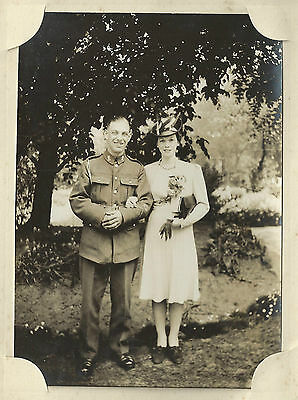 1940's Wwii Austerity Wedding Photo - Fusilier? Soldier & Stylish Bride
