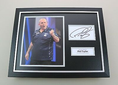 Phil Taylor Signed Photo Framed 16x12 Darts Memorabilia Autograph Display COA