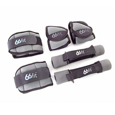 66fit Ankle, Wrist and Dumbbell Set - Weights Training Exercise Fitness Aerobics