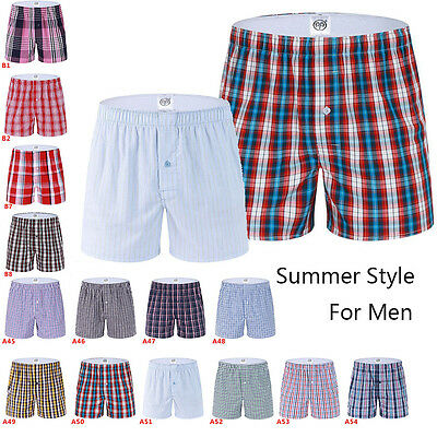 Men's Plaid Boxer Briefs Shorts Soft Underwear Trunks Underpants Size L XL M XXL