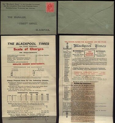 1902-10 BLACKPOOL TIMES Newspaper reply envelope and Scale of charges