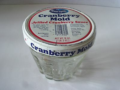 Vintage Ocean Spray Glass Cranberry Mold with Lid