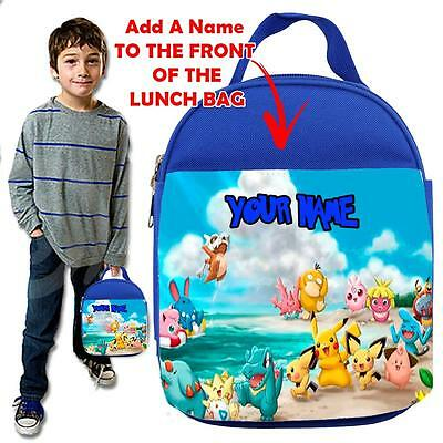 Personalised POKEMON  3 KIDS BLUELunch Bag Insulated Cool Box SCHOOL