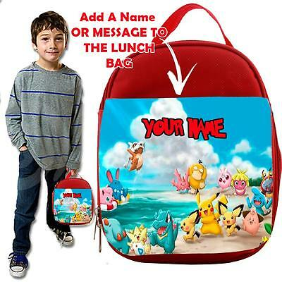 Personalised POKEMON  3 KIDS RED Lunch Bag Insulated Cool Box SCHOOL