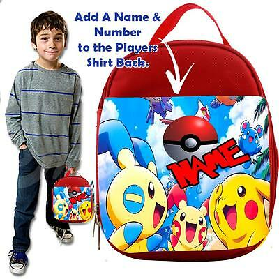 Personalised POKEMON  BALL  KIDS RED Lunch Bag Insulated Cool Box SCHOOL