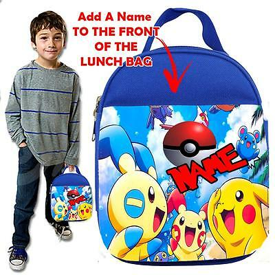 Personalised POKEMON  BALL  KIDS BLUE  Lunch Bag Insulated Cool Box SCHOOL