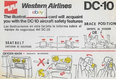 Western Air Lines 1978 Douglas Dc-10 Safety Card English/spanish