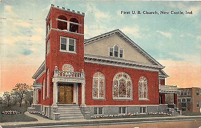 A81/ New Castle Indiana In Postcard 1913 First U.B. Church Building