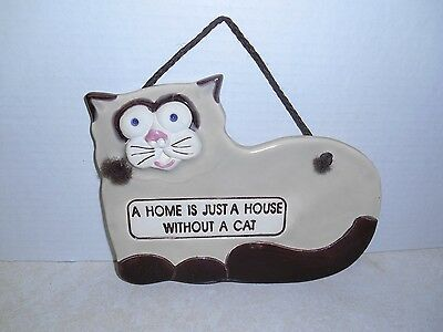"""Cat Plaque """"A Home is just a House without a Cat"""", Free Shipping"""
