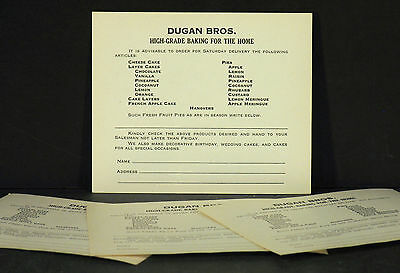 Four c.1940s-50s New Jersey Dugan Brothers Bakery Cake Pie Delivery Order Forms