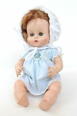 "Vintage Vogue 16"" Ginny Baby Doll - Blue Sleeping Gown w/ Bonnet"