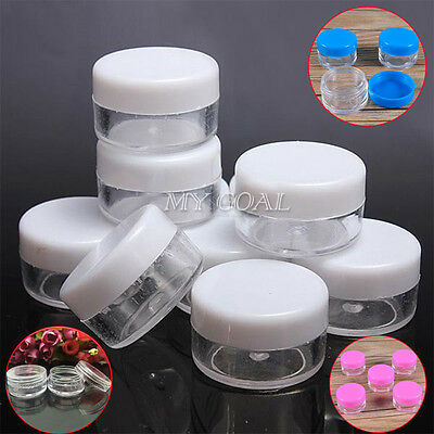 10x 5 Grams Sample Cream Container Clear Plastic Empty Cosmetic Jars Pot Glitter