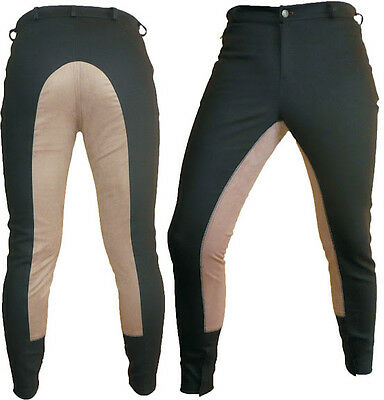 Brown Synthetic Leather Dressage Horse Riding Pants Full Seat Breeches breech GR