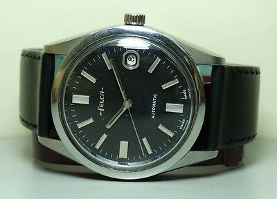 Vintage Felca AUTOMATIC DATE SWISS MENS WRIST Watch BLACK DIAL G67 Used Antique