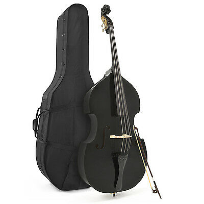 New Student 3/4 Double Bass with Case & Bow, Black by Gear4music