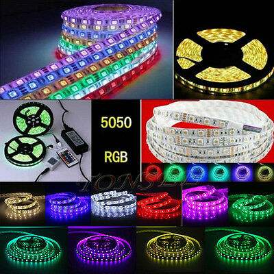 5-10M RGB 5050 SMD Waterproof 300 LED Light Strip Flexible + IR Remote 12V power