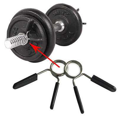 """2 X Standard 1"""" Weight Bars Spring Collar Clips Dumbbell Barbell Clamp Bar Gym"""