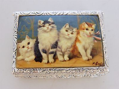 Silver Plated Pictorial Enamel Top Box Depicting Cute Kittens