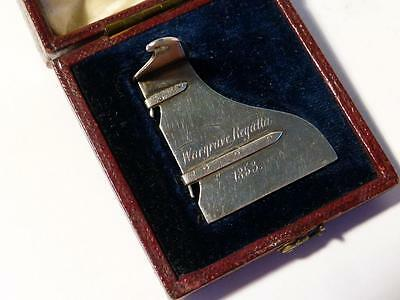 Antique Victorian 1853 Wargrave Regatta SILVER RUDDER Rowing Trophy Boxed WOW