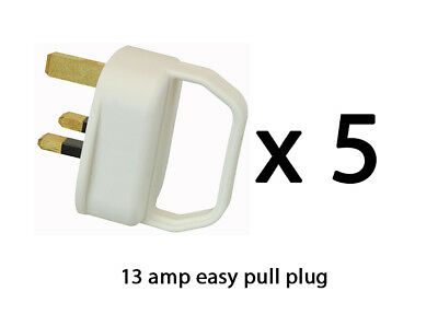 Easy Pull Mains Plug Top 13A Amp White Fused arthritis disability elderly x 5