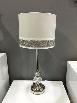 White Chrome & Crystal Silver Diamante Sparkle Bedside Table Light Lamp 58cm