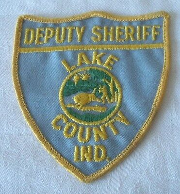 """Vintage DEPUTY SHERIFF """"LAKE COUNTY INDIANA"""" Embroidered Uniform Patch AUTHENTIC"""
