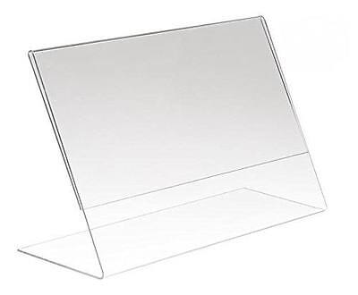 "Lot of 24 Pieces - 8"" x 6"" Clear Acrylic Slant Back Sign Holder / Photo Frames"